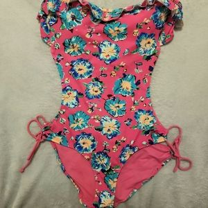 Aerie Pink Floral One-Piece Swimsuit